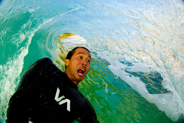 gnarly surfing selfie