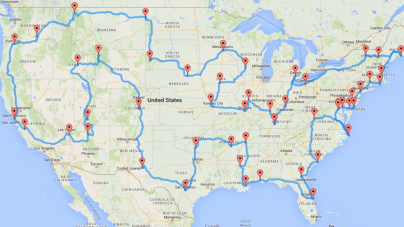 Here Is A Map Of A Road Trip Across The U.S. Hitting Every State And It's Pretty Freaking Awesome